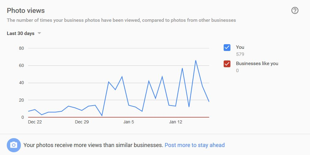 Google My Business Insights - Photo Views - markscheets.com
